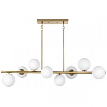 Потолочный светильник на составной штанге Lightstar Croco 815083, 8xE14x40W, матовое золото, белый, металл, стекло