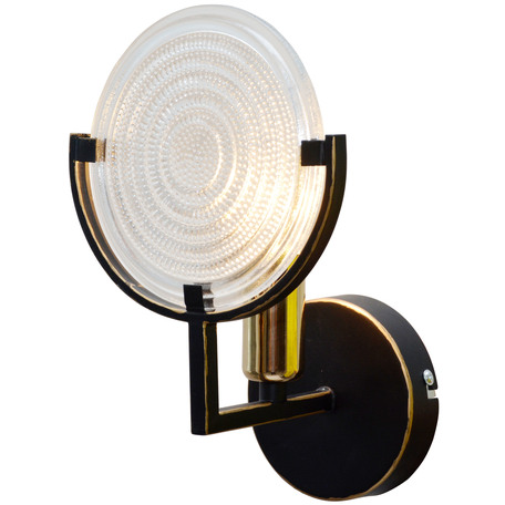 Бра Toplight Roxana TL1194B-01BK, 1xE14x40W, черный с золотой патиной, прозрачный, металл, стекло