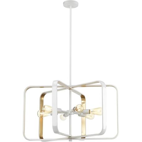 Подвесная люстра Toplight Lois TL1177H-06WH, 6xE27x40W, белый, белый с золотом, металл