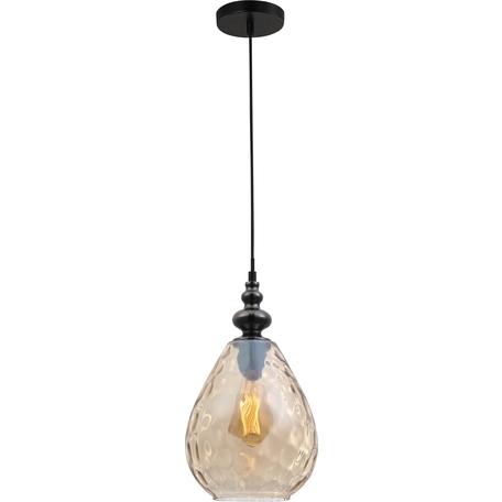 Подвесной светильник Toplight Adela TL1171H-01AB, 1xE27x40W, черный, янтарь, металл, стекло