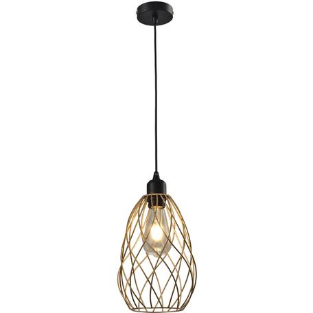 Подвесной светильник Toplight Martha TL1191H-01GD, 1xE27x60W, черный, золото, металл