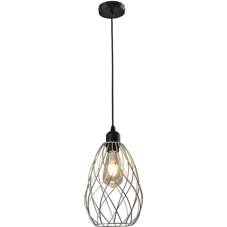 Подвесной светильник Toplight Martha TL1191H-01SL, 1xE27x60W, черный, серебро, металл