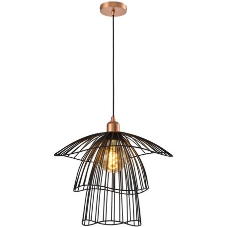 Подвесной светильник Toplight Phebe TL1192H-01BK, 1xE27x60W, медь, черный, металл
