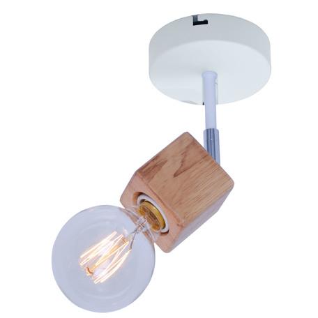 Потолочный светильник с регулировкой направления света Toplight Alisha TL1197B-01WH, 1xE14x60W, белый с хромом, коричневый, металл с деревом