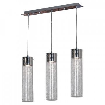 Подвесной светильник Lussole Loft West Babylon LSP-9873, IP21, 3xGU10x50W, хром, прозрачный, металл, стекло