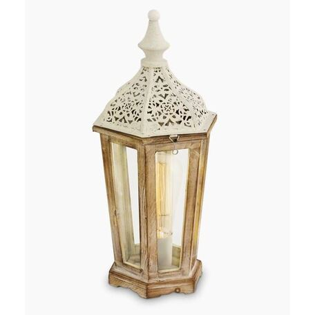 Настольная лампа Eglo Trend & Vintage Kinghorn 49278, 1xE27x60W, коричневый, прозрачный, дерево, стекло