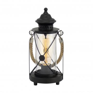 Настольная лампа Eglo Trend & Vintage Cottage Chic Bradford 49283, 1xE27x60W, черный, прозрачный, канат, металл, стекло