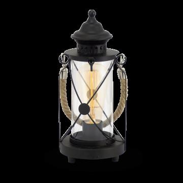 Настольная лампа Eglo Bradford 49283, 1xE27x60W, черный, прозрачный, канат, металл, стекло