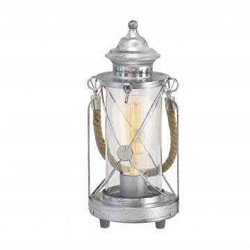 Настольная лампа Eglo Trend & Vintage Cottage Chic Bradford 49284, 1xE27x60W, серебро, прозрачный, канат, металл, стекло