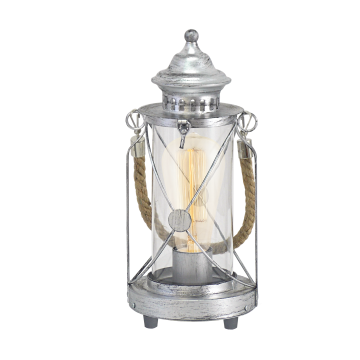 Настольная лампа Eglo Bradford 49284, 1xE27x60W, серебро, прозрачный, канат, металл, стекло