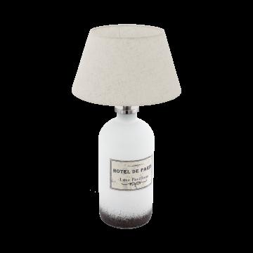 Настольная лампа Eglo Roseddal 49663, 1xE27x40W, белый, бежевый, стекло, текстиль
