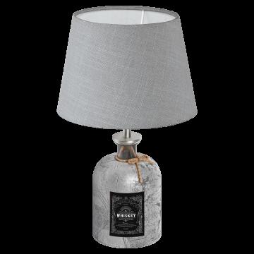 Настольная лампа Eglo Mojada 49667, 1xE27x40W, серебро, серый, стекло, текстиль