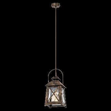Подвесной светильник Eglo Redford 49347, 1xE27x60W, коричневый, прозрачный, металл, стекло