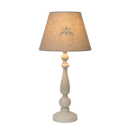 Настольная лампа Lucide Robin 34539/81/41, 1xE27x40W, серый, дерево, текстиль