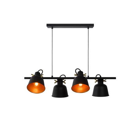 Подвесной светильник с регулировкой направления света Lucide Pia 45380/04/30, 4xE27x60W, черный, металл
