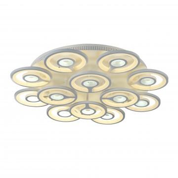 Потолочная светодиодная люстра с пультом ДУ Favourite F-Promo Roundels 2292-12U, LED 190W 3000-6400K, белый, металл, пластик