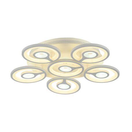 Потолочная светодиодная люстра с пультом ДУ Favourite F-Promo Roundels 2292-6U, LED 90W 3000-6400K, белый, металл, пластик