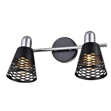 Бра с регулировкой направления света Toplight Susan TL3760Y-02BC, 2xE14x40W, черный с хромом, черный, металл