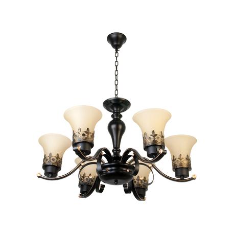 Подвесная люстра Toplight Florence TL7490D-06BL, 6xE27x40W, коричневый, белый, металл, стекло