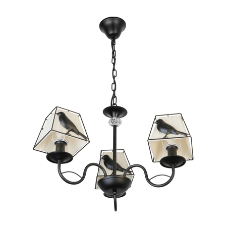Подвесная люстра Toplight Donna TL7510D-03BL, 3xE14x40W, черный, белый, металл, текстиль