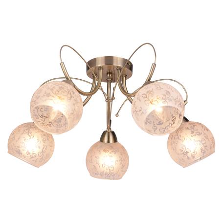Потолочная люстра Toplight Patricia TL3740X-05AB, 5xE14x40W, бронза, белый, металл, стекло