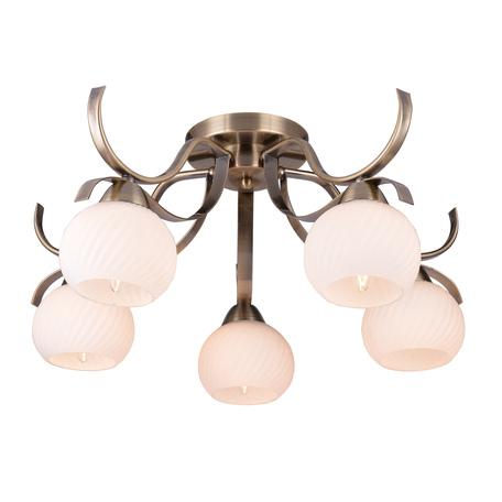 Потолочная люстра Toplight Olivia TL3750X-05AB, 5xE27x40W, бронза, белый, металл, стекло