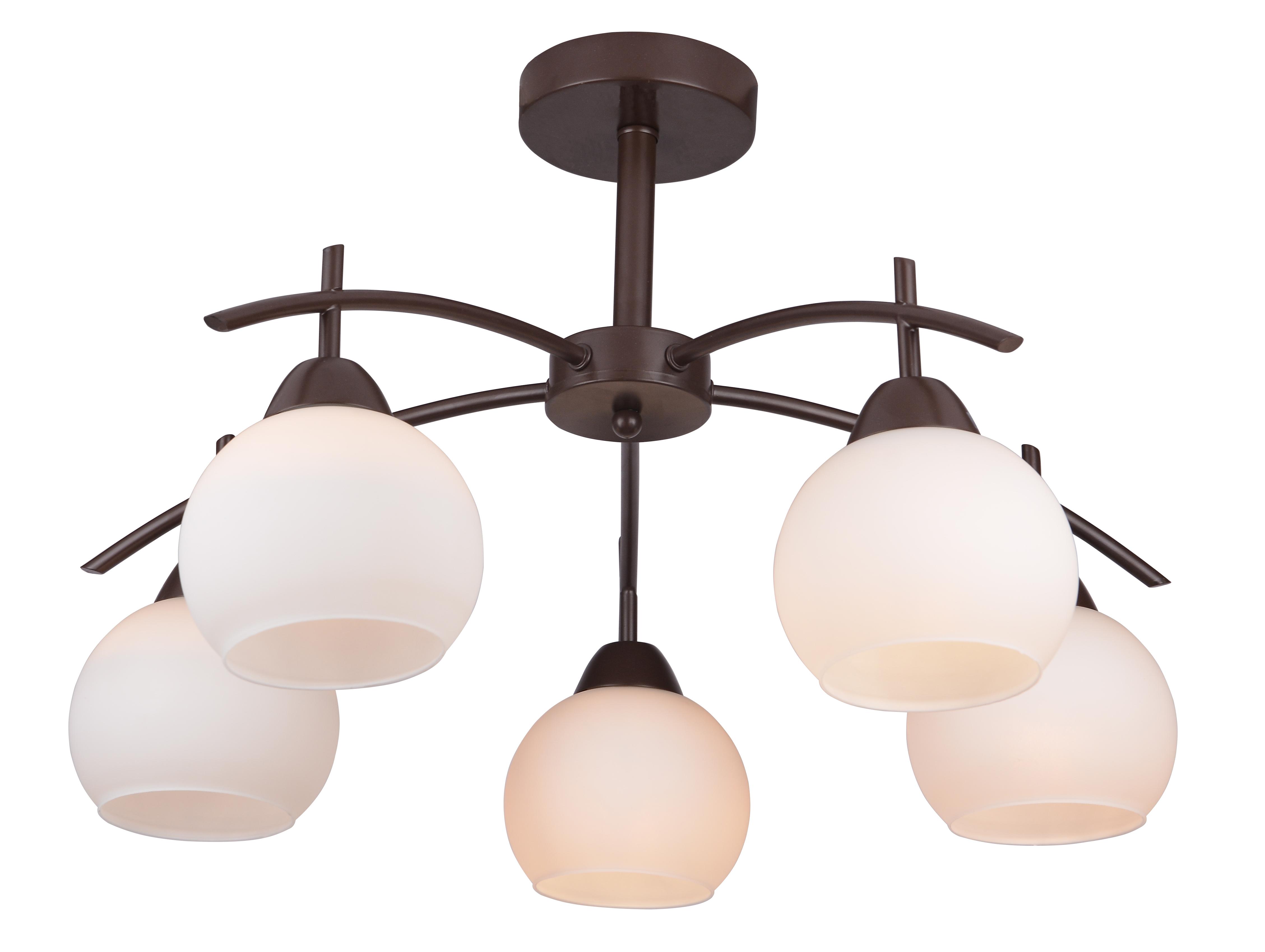Потолочная люстра Toplight Molly TL3770X-05DB, 5xE27x40W, коричневый, белый, металл, стекло - фото 1