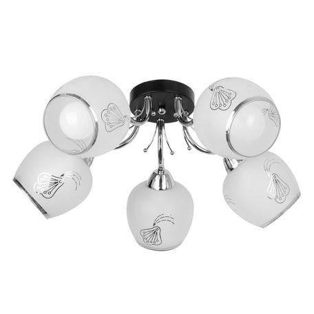 Потолочная люстра Toplight Kimberly TL7410X-05BC, 5xE27x40W, черный с хромом, белый, металл, стекло