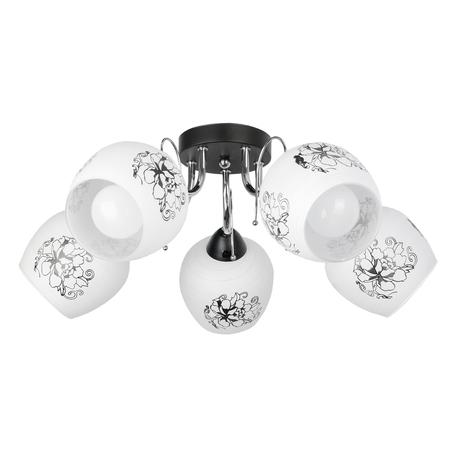 Потолочная люстра Toplight Karyn TL7420X-05BC, 5xE27x40W, черный с хромом, белый, металл, стекло