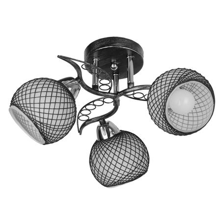 Потолочная люстра Toplight Isabella TL7450X-03BP, 3xE14x40W, черный с хромом, черный с белым, металл, стекло