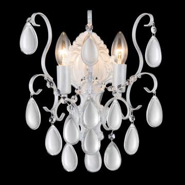 Бра Crystal Lux SEVILIA AP2 SILVER 2941/402, 2xE14x40W, белый с серебряной патиной, прозрачный, серебро, металл, стекло, хрусталь