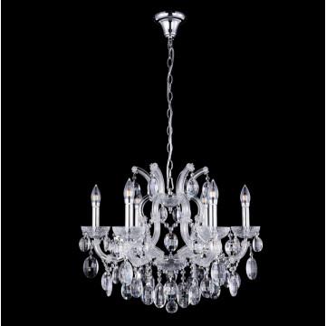 Подвесная люстра Crystal Lux HOLLYWOOD SP6 CHROME 2010/306, 6xE14x40W, прозрачный, хром, стекло, хрусталь