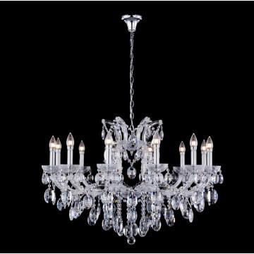 Подвесная люстра Crystal Lux HOLLYWOOD SP12 CHROME 2010/312, 12xE14x40W, хром, прозрачный, стекло, хрусталь