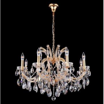 Подвесная люстра Crystal Lux HOLLYWOOD SP8 GOLD 2011/308, 8xE14x40W, золото, прозрачный, стекло, хрусталь