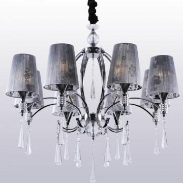 Подвесная люстра Crystal Lux JOY SP8 2120/308, 8xE27x11W, прозрачный, хром, серый, металл, стекло, текстиль, хрусталь