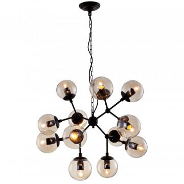 Подвесная люстра Crystal Lux MEDEA SP12 2420/312, 12xE27x60W, черный, янтарь, металл, стекло