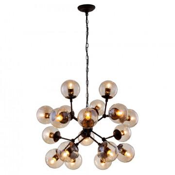 Подвесная люстра Crystal Lux MEDEA SP18 2420/318, 18xE27x60W, черный, янтарь, металл, стекло