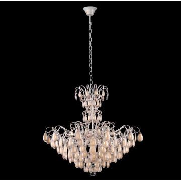 Подвесная люстра Crystal Lux SEVILIA SP9 GOLD 2940/309, 9xE14x40W, белый с золотой патиной, перламутровый, прозрачный, металл, стекло, хрусталь