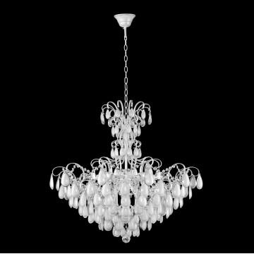 Подвесная люстра Crystal Lux SEVILIA SP9 SILVER 2941/309, 9xE14x40W, белый с серебряной патиной, прозрачный, серебро, металл, стекло, хрусталь