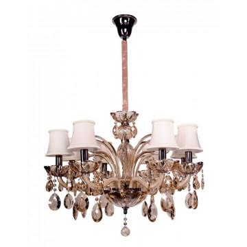 Подвесная люстра Crystal Lux SIENA SP8 2950/308, 8xE14x40W, бежевый, коньячный, стекло, текстиль, хрусталь