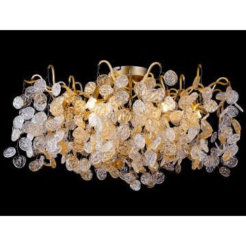 Потолочная люстра Crystal Lux TENERIFE PL8 3180/108, 8xG9x40W, матовое золото, янтарь, металл, стекло