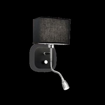 Бра с дополнительной подсветкой Ideal Lux HOLIDAY AP2 NERO 124179, 1xE14x40W + LED 1W 3000K 45lm, хром, черный, металл, текстиль