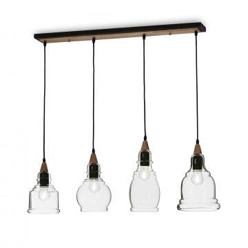 Подвесной светильник Ideal Lux GRETEL SP4 122557, 4xE27x60W, коричневый, прозрачный, металл с деревом, стекло