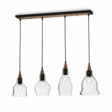 Подвесной светильник Ideal Lux GRETEL SB4 122557, 4xE27x60W, коричневый, прозрачный, металл с деревом, стекло