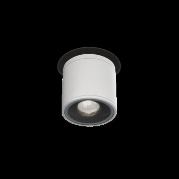 Потолочный светильник Ideal Lux GUN PL1 BIANCO 122663, IP44, 1xGU10x28W, белый, прозрачный, металл, стекло