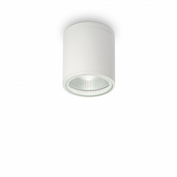 Потолочный светильник Ideal Lux GUN PL1 BIANCO 122663, IP44, 1xGU10x28W, белый, черно-белый, металл, стекло