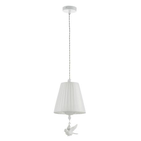 Подвесной светильник Maytoni Passarinho ARM001-22-W, 1xE14x40W, белый, прозрачный, металл, текстиль, хрусталь