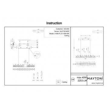 Схема с размерами Maytoni H186-PL-01-40W-BS