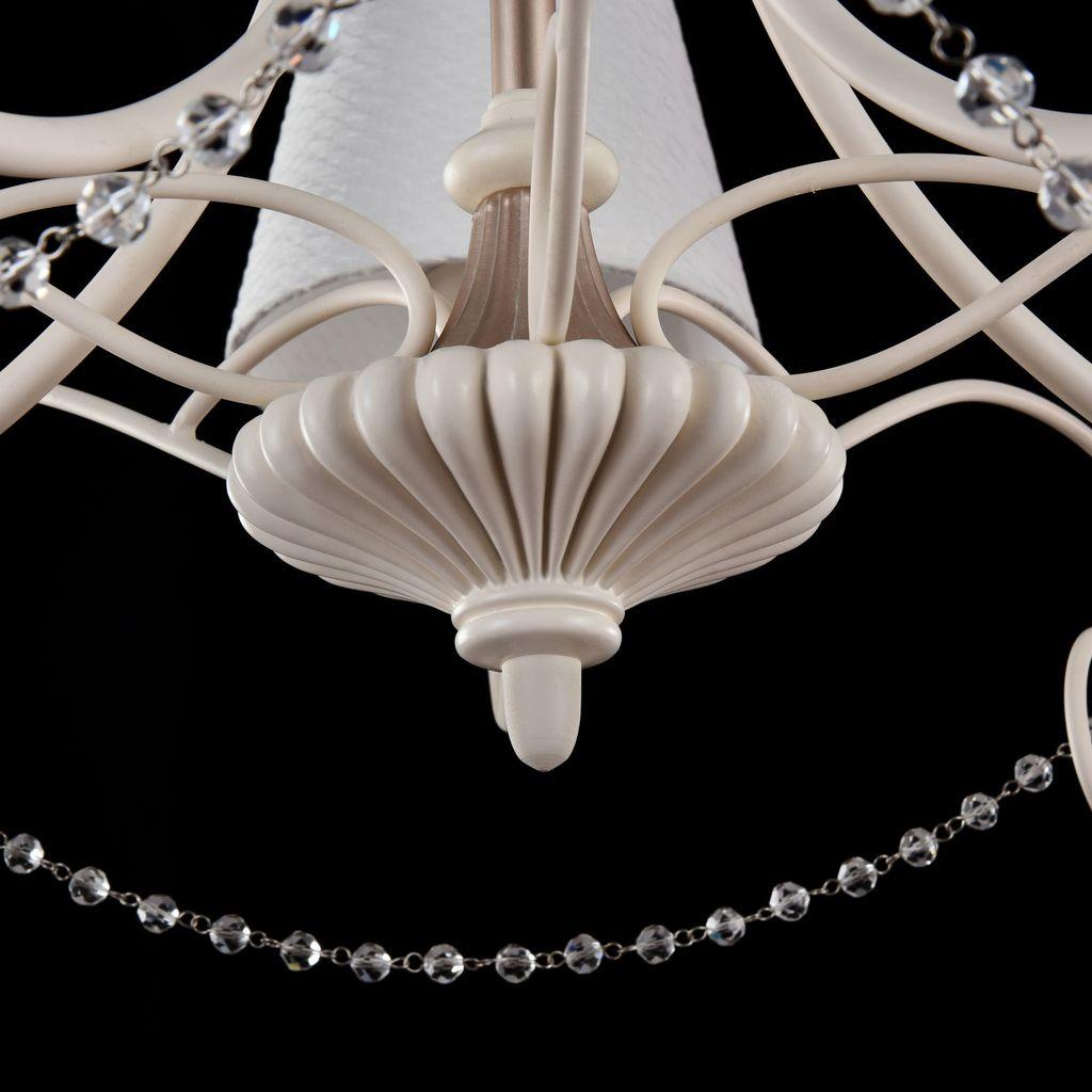 Потолочно-подвесная люстра Maytoni Sonate ARM424-PL-05-W, 5xE14x40W, бежевый, матовое золото, белый, прозрачный, металл, текстиль, стекло - фото 6