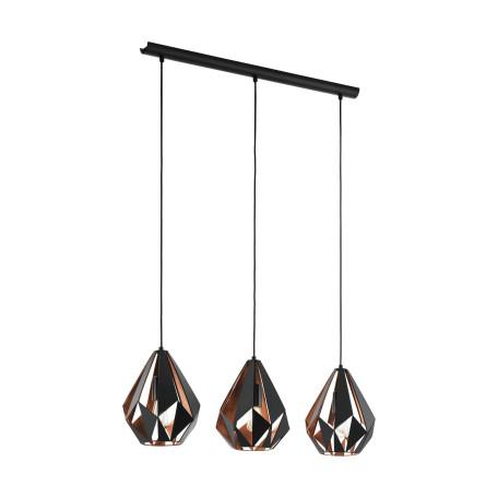 Подвесной светильник Eglo Trend & Vintage Loft Carlton 1 49991, 3xE27x60W, черный, металл